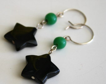 Oh My Stars! black agate star earrings