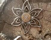 Flower Filigree Bullet Necklace, Bullet Jewelry