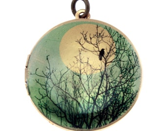 Photo Locket, Image Locket, Art Locket, Picture Locket, Brass Locket - Blackbird in a Tree