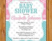 Snowflake Baby Shower Invitation Polka Dot Winter Shower Twin Gender Neutral Invite Aqua Blue Pink 5x7 Digital JPG (406)