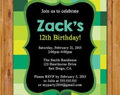 Pixellated Birthday Invite Preteen Teen Child Boys Blocks Invitation 5x7 digital JPG file (163)