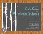 Birch Tree Bridal Shower Bird Invite Rustic Country Woods Turquoise Coral Invite 5x7 Printable JPG Invite (431)