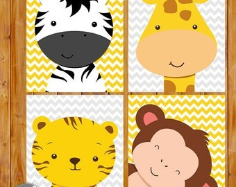 Zoo Animals Jungle Nursery Wall Art Decor Giraffe Zebra Monkey Tiger Grey Yellow Gender Neutral 8x10 Files Instant Download (178)