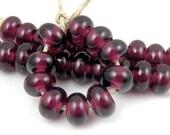 044 Dark Amethyst Spacers - Handmade Artisan Lampwork Glass Beads - 5mmx9mm - SRA (Set of 10 Spacer Beads)