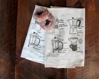 Coffee Maker Tea Towel - Kitchen Towel - Coffee Hand Towel - Coffee Diagram Dish Towel - Unbleached Cotton - Hostess Gift Wedding Gift