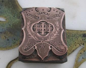 Order of Heptasophs Letterpress Printers Block Improved I.O.H.
