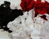 Black, White, Lipstick Red Seam Binding- Plain or Scrunched, 15 yards, Packaging, Scrapbooking, Shabby Pretty Embellishment