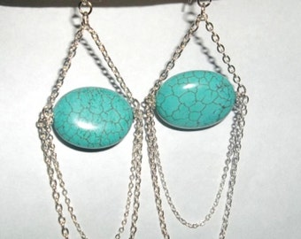 Natural Turquoise Chandelier With Silver Chains Earrings