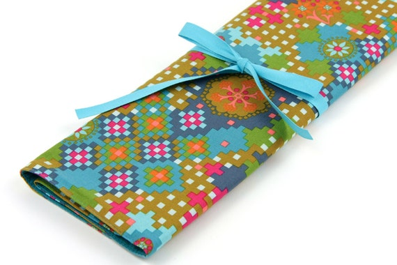 Knitting Needle Case - Postage Due in Blue - IN STOCK Large Organizer 30 blue pockets for straights, circulars, dpns and notions