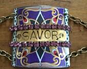 Savor hand stamped vintage tin cuff bracelet