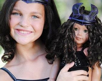 "Maleficent Descendants Inspired Headband Headpiece Villain Headband for Children, Adults and or 18""inch doll Scepter"