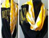 Iowa Hawkeye t shirt scarf, chevron scarf, chevron infinity scarf, Iowa chevron scarf, Hawkeye chevron scarf, Iowa Hawkeye t shirt