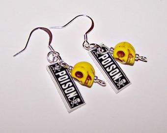 POISON Earrings with Skulls