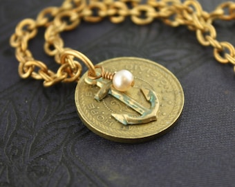 Mt. Hope Bridge Token Necklace - Anchor/Pearl
