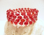 Valentine's Day Bracelet, Sparkly Red Jewelry, Wrap Around, Memory Wire Bracelet, Coil Stack Bangle, Beaded Cuff