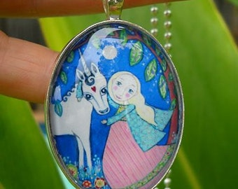 Unicorn and Blonde Princess Girl Necklace Kids Gift for Sister Little Girls Jewelry Unicorn Oval Pendant Silver White Horse Art Necklace
