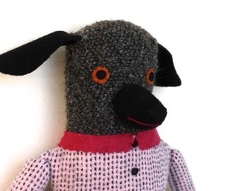 Girl Poodle in Pink and blue wool doll