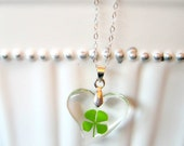 Lucky Four Leaf Clover Necklace - Green Shamrock Heart - Sterling Silver Chain - St Patricks Day - The Luck of the Irish