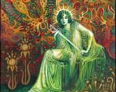 Queen of Swords Tarot Art 5x7 Greeting Card Psychedelic Goddess Art