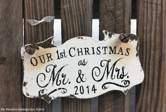 OUR 1st CHRISTMAS ORNAMENT, Mr and Mrs Christmas Ornament, French Chic, Shabby Chic Christmas Ornament, Wood Ornament