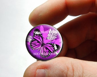Glass Cabochon - Purple Monarch Butterfly - for Jewelry and Pendant Making