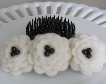 Creamy white wool felt flower barrette - great stocking stuffer