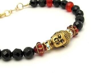 Buddha Bracelet, Black Onyx Bracelet, Black Gemstone, Yoga Bracelet, Zen Bracelet, Bohemian Bracelet,Red Czech Glass Beads, 14KT Gold Fill
