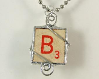 Red Letter B Scrabble Pendant Necklace