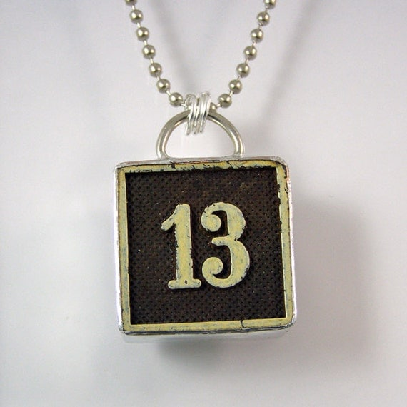 number 13 pendant necklace