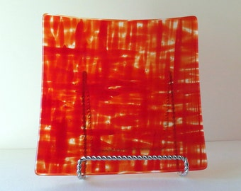 Fused Glass Dish, Red Pattern, Dinning and Entertaining, Statteam