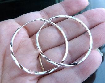 """1 1/2"""" Big Sterling Silver Hoops hoop earrings cut twisted rope 40mm 1 2 inch"""