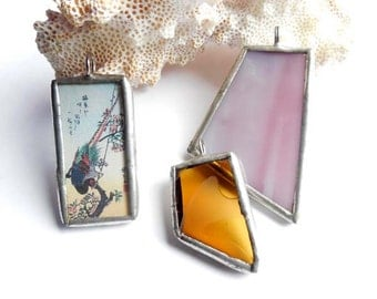 Stained Glass Pendants - Lot Of 3