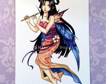 Postcard - Anime Fairy, Japanese Kimono, fashion illustration, flute player, Post Card, Meredith Dillman