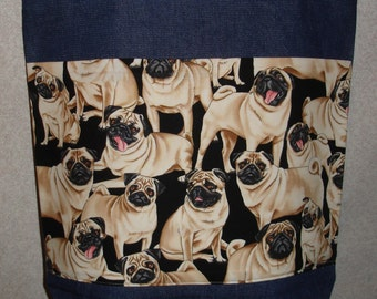 New Handmade Large Pugs all Over Dogs Pets Denim Tote Bag