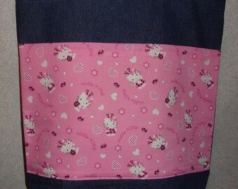 New Large Denim Tote Bag Handmade with Hello Kitty Pink Hearts Fabric