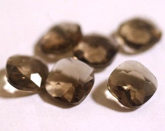 Unfoiled 12mm Cushion Cut Glass Jewels - Smoky Grey - 6pcs - Faceted Cushion Cut Gem, Faceted Glass Crystal, Faceted Rhinestone Crystal