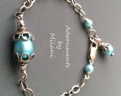 Robin's Egg Pool Blue Bracelet Pearl Rustic Mother of the Bride Groom Bridesmaid Beaded Sterling Silver Vintage Appeal