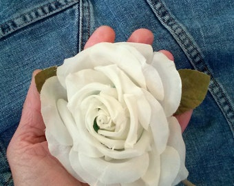 Vintage 1960s Silk Flower White Rose Millinery Hat Supplies Boutonnière 20141020K105