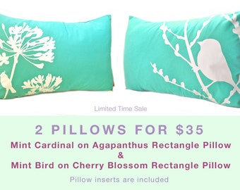 Limited Time Sale 2 Mint Green Bird Pillows for 35 US Dollars