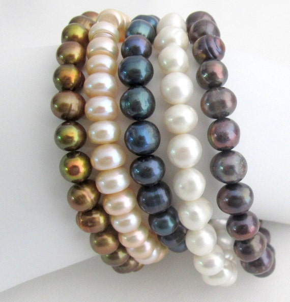 Set Of 5 Freshwater Pearl Stretch Bracelet Ivory Peach Golden Purple Tahitian Multi Color Stacking