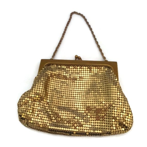 whiting and davis purse gold mesh metal gold chain handle