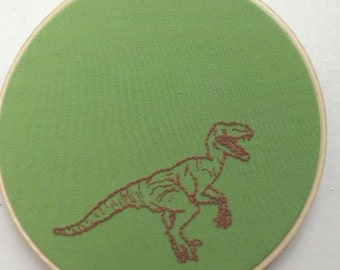 Hand Embroidery Hoop Art- Velociraptor