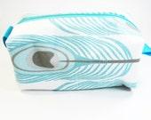 Makeup Bag - Aqua Peacock Feather