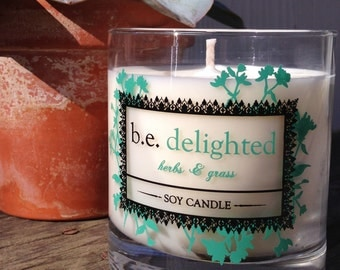Herbs and Grass, Vegan Candle, Spring, Summer, be delighted, herbal, Handmade Boutique Candle