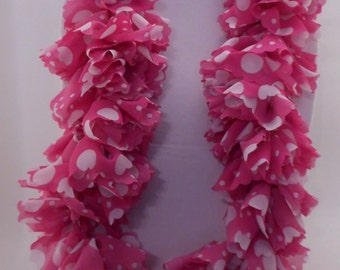 Pink and White Polka Dot Ruffle Crochet Cowl Scarf