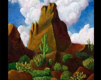 Cactus Landscape Original Painting Acrylic Sonoran Desert Mountain Cholla Saguaro Flatiron Clouds Thunderhead