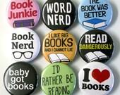 Book Nerd Bookworm Badges Buttons Pinbacks