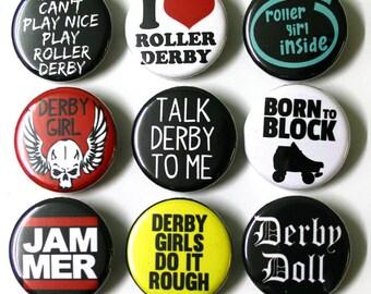 Roller Derby Badges Buttons Pinbacks x 9