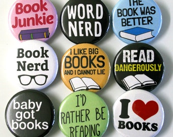 Book Nerd Bookworm Badges Buttons Pinbacks