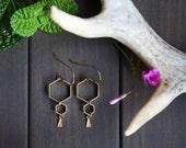 Ruche Earrings - hexagon honey combs hive bee modern minimalist nature organic geometric dangle